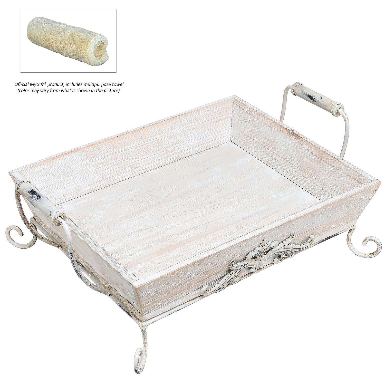 Shabby Chic Vintage blancas de madera decorativo doble-Manejó Celloexpress/ bandeja - MyGift burrda: Amazon.es: Hogar