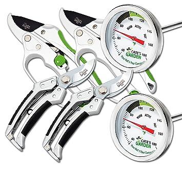 Cate de jardín 6 piezas Herramienta de jardín de 2 Compost termómetro Premium, 2 de