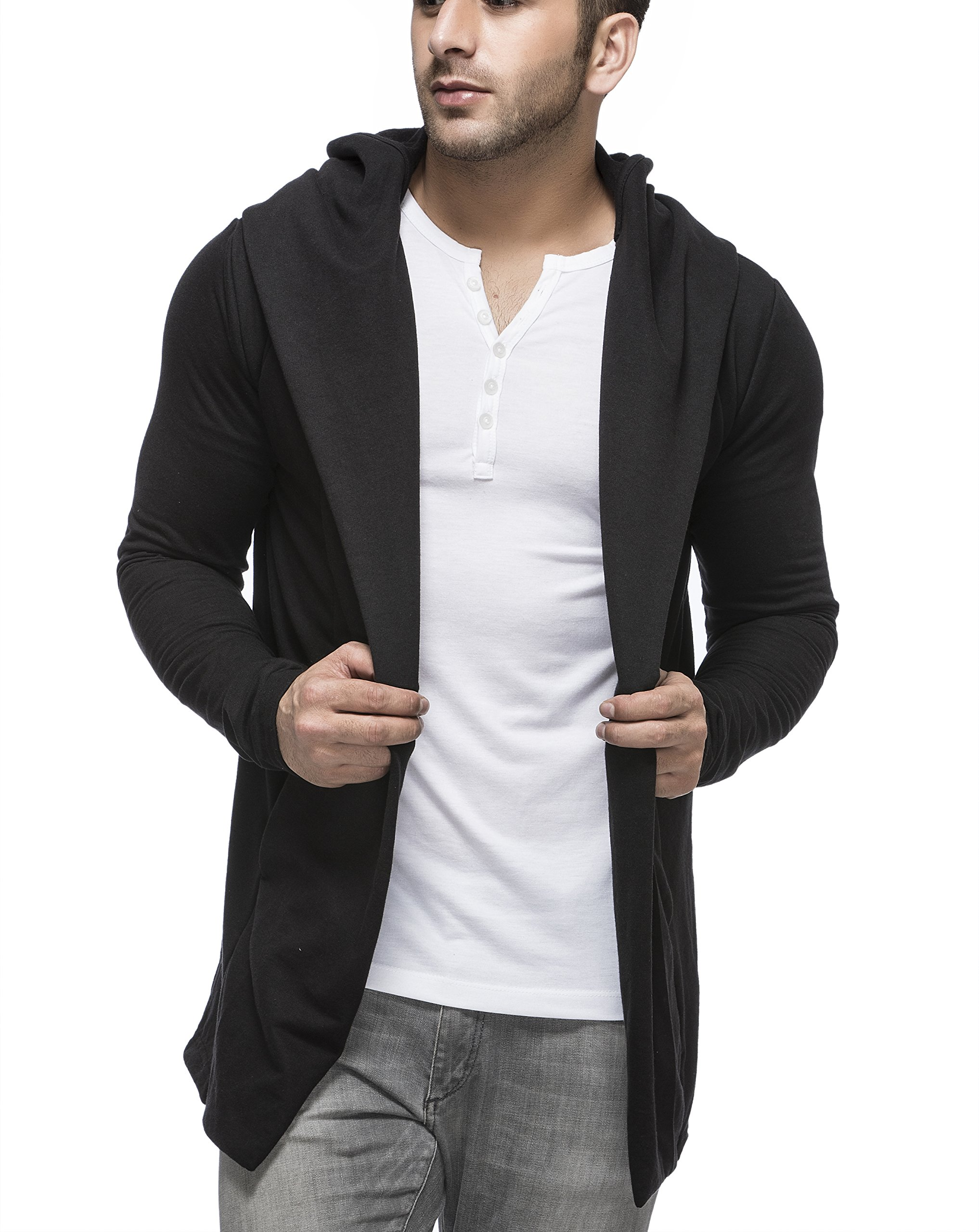 Tinted Mens Cotton Blend Hooded Cardigan, Black, Medium by Tinted
