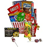 Movie Night Gift Basket Ultimate Care Package with lots of Premium Candy Cookies Popcorn and Snacks in a Cool Retro Nostalgic