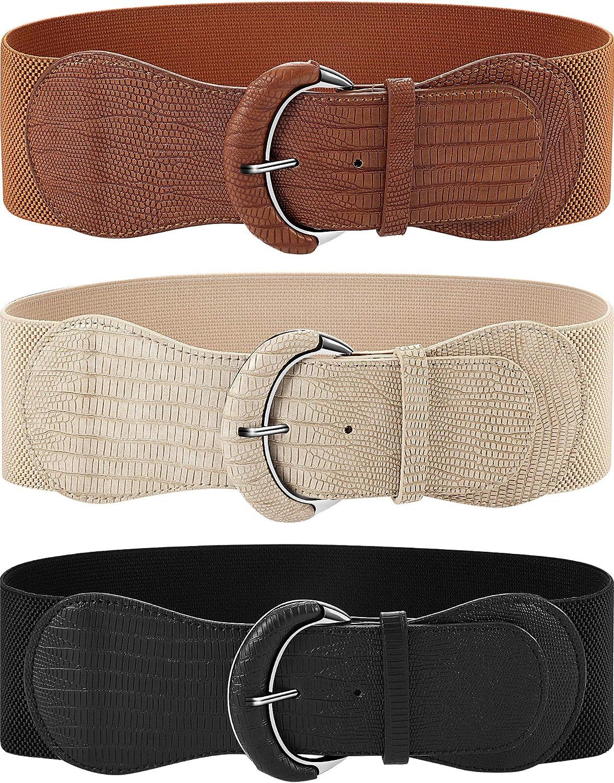 3 piezas de Ancho para Mujer Cinturón de Cintura Elástico Cinch Belt Cinturón Elástico de Cuero para Damas Vestido de Decoración