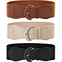3 Pieces Wide Women Waist Belt Stretchy Cinch Belt Leather Elastic Belt for Ladies Dress Decoration