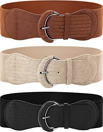 Beige elastic belt for women
