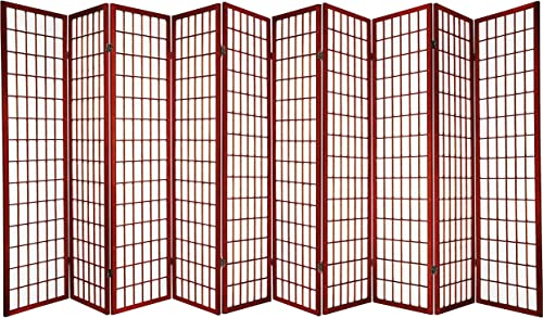 Legacy Decor 10 Panel 71 H x 175 W Japanese Oriental Style Room Screen Divider Cherry Color