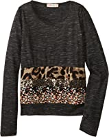 Miss Me Big Girls' Leopard Floral and Sequin Banded Long Sleeve Tee