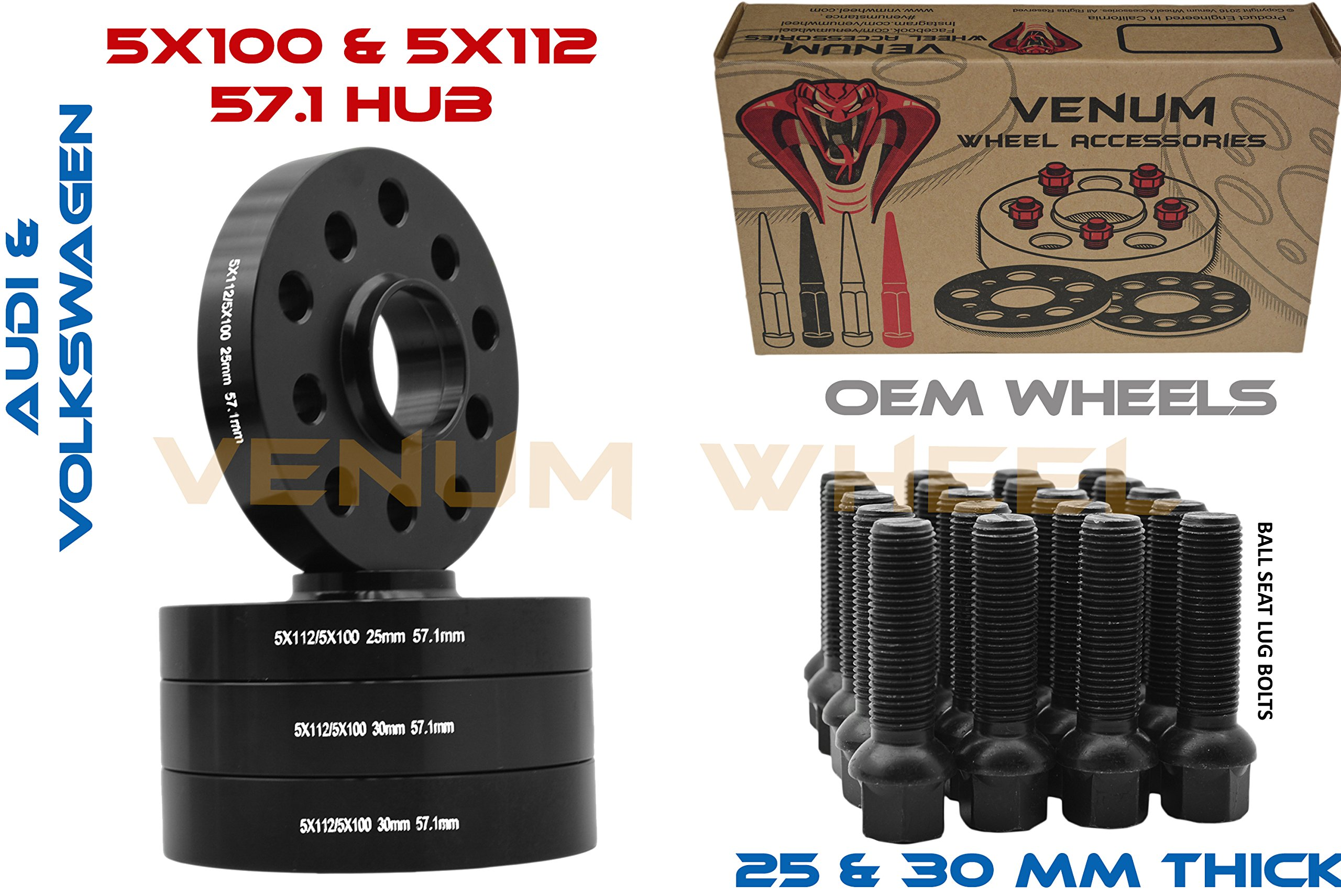Complete Staggered Kit of 25mm & 30mm Black Hubcentric (57.1) Wheel Spacer Audi Volkswagen 5x100 & 5x112 Bolt Pattern + 20 Pc 14x1.5 Black Ball Seat Lug Bolts …