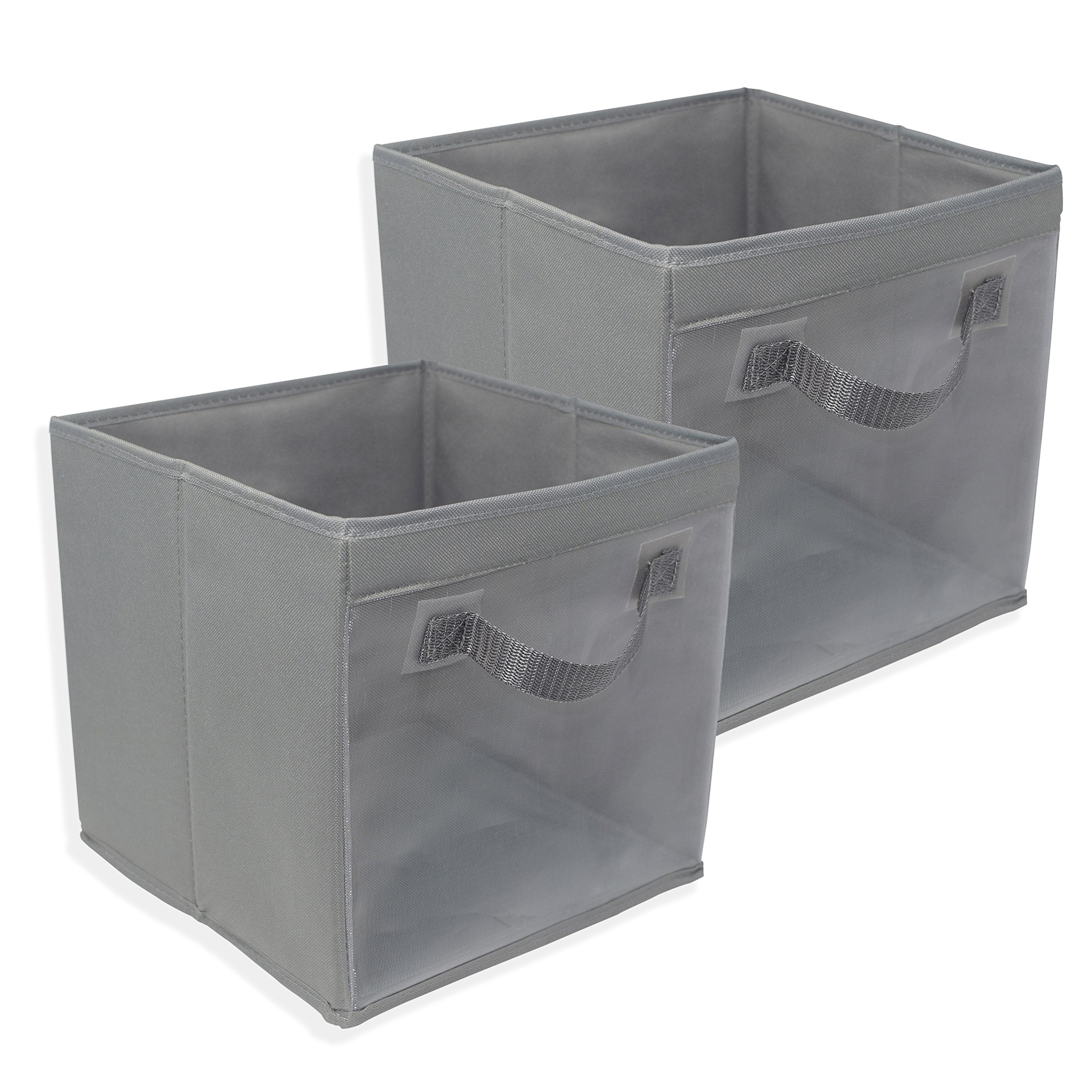 EASYVIEW Storage Cube with Handle 100% Woven Oxford Nylon Bin with Mesh See Thru Side 10.5 x 10.5 x 10 Inches, Foldable, White, Brown and Grey (Dark Grey 2 Pack)
