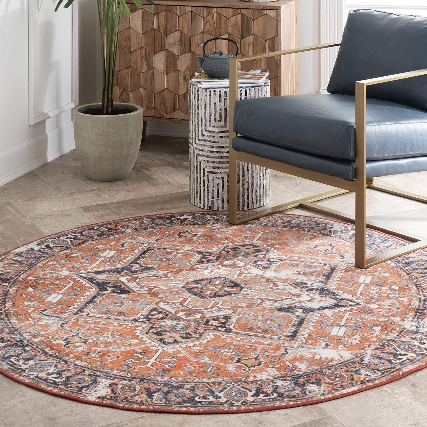 Shop nuLOOM Florence Vintage Persian Area Rug, 8' Round, Rust from Amazon on Openhaus