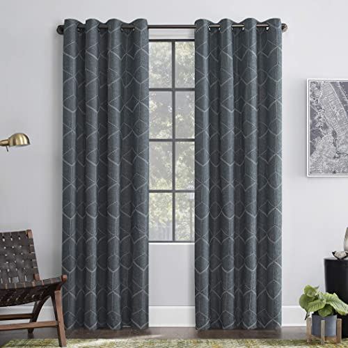 Scott Living Elkay Woven Geometric Pattern 100 Blackout Grommet Curtain Panel