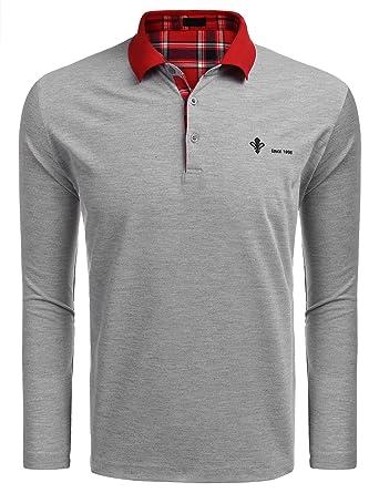 huge discount 732d8 e2bf8 FINEJO Herren Poloshirt Langarm Einfarbig Polo Shirt Kragen Freizeit Slim  fit Polohemd