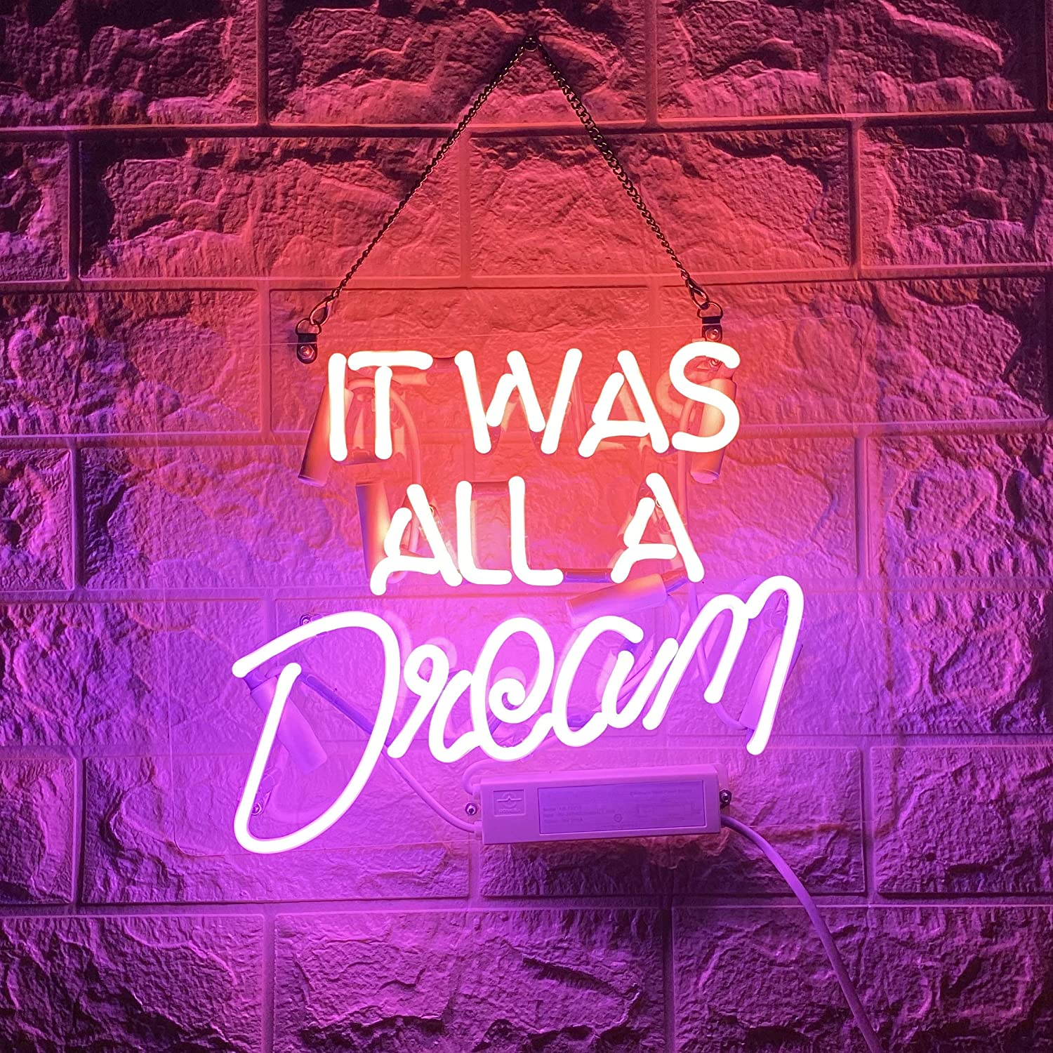 CEOSEI Neon Signs It was All a Dream Pink Purple Handmade Real Glass Tube Neon Lights Sign for Home Decor or Bar Wall Neon Light Sign Provides Light for Parties, Living Spaces, or Restaurants