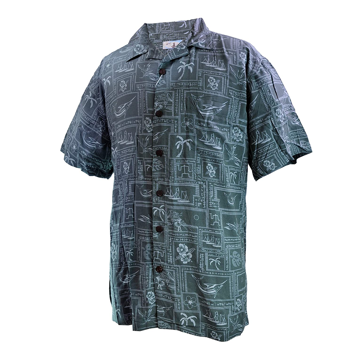 Men Aloha Shirt Cruise Luau Hawaiian Party Vintage Green Abstract