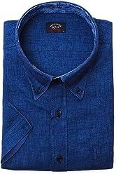 4b0052dae3c PAUL   SHARK Men s E18P3153559 Blue Linen Shirt