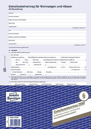 Avery Zweckform 2850 Mietvertrag Für Wohnungen Und Häuser A4 6