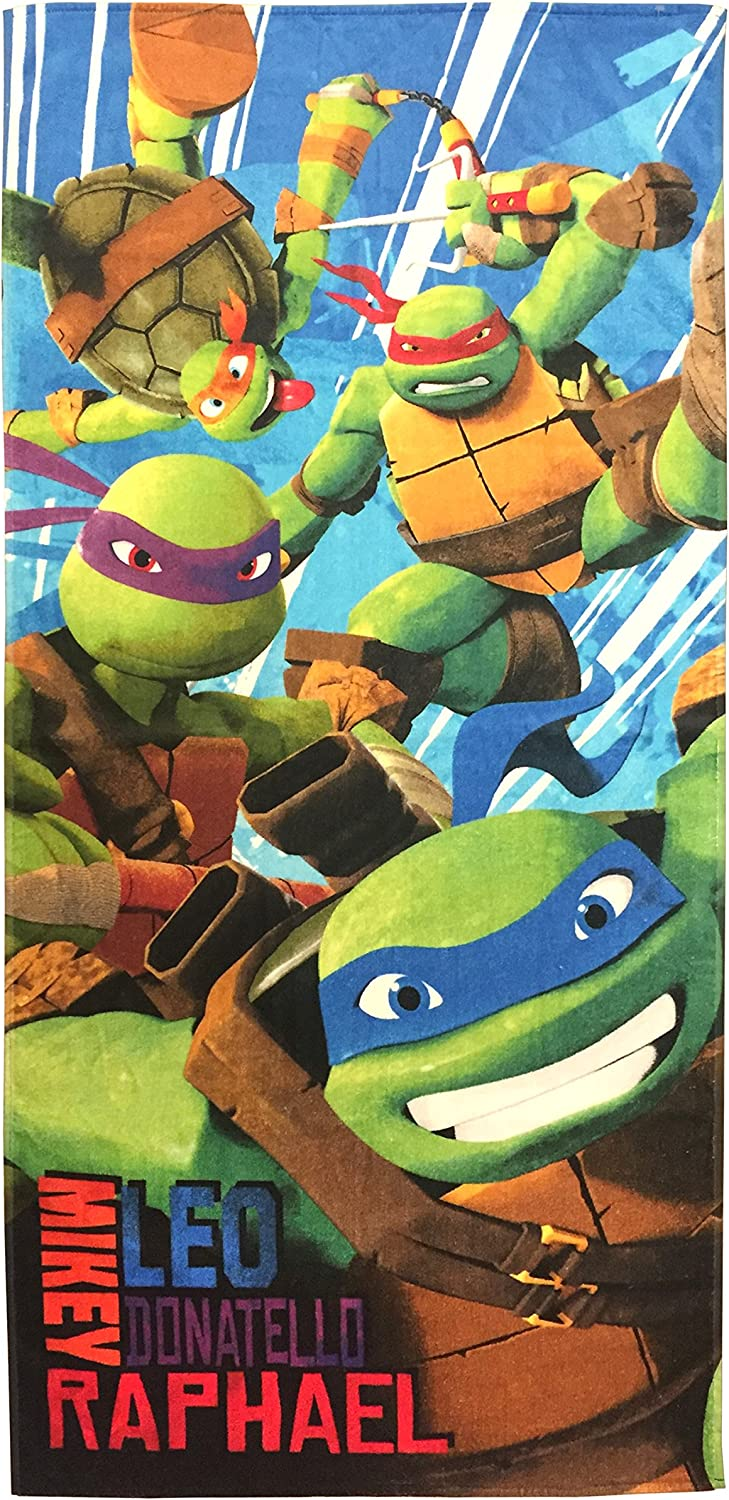 "Towel Bath Beach Pool Cotton 28/""x58/"" TMNT Teenage Mutant Ninja Turtles Age3 NEW"