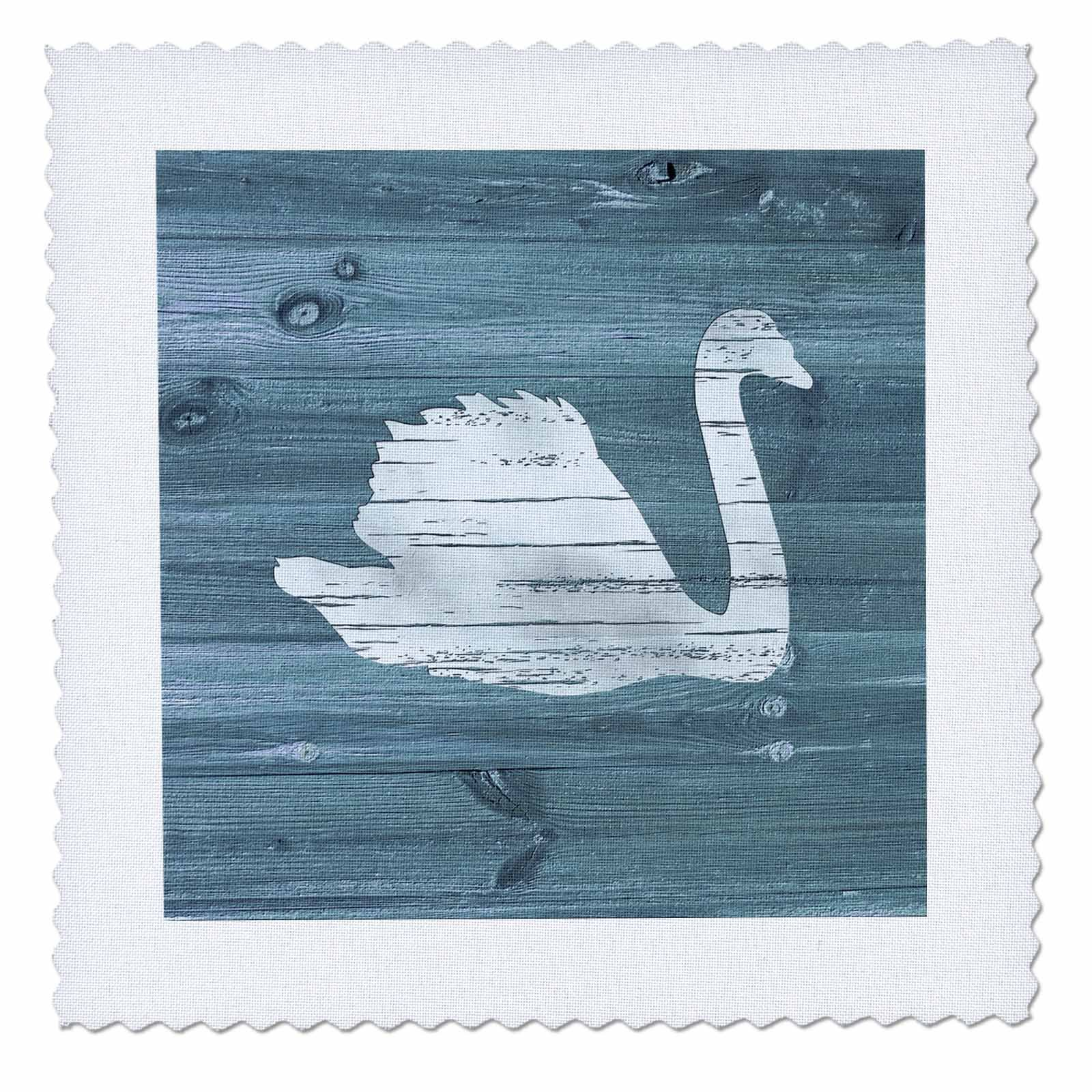 3dRose Russ Billington Designs - White Painted Swan on Blue Weatherboard- Not Real Wood - 18x18 inch quilt square (qs_261840_7)