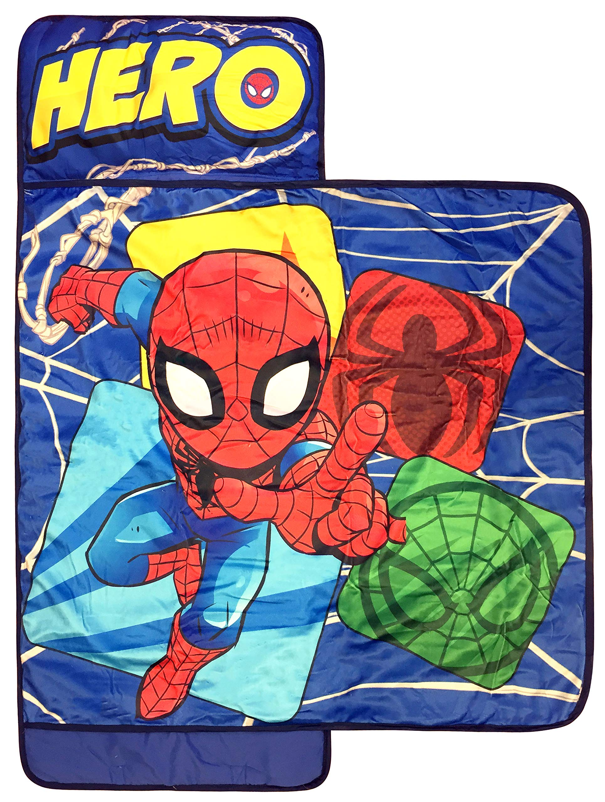 Marvel Spiderman Spidey Squares Nap Mat - Built-in Pillow and Blanket - Super Soft Microfiber Kids'/Toddler/Children's Bedding, Ages 3-7 (Official Marvel Product) by Jay Franco (Image #1)