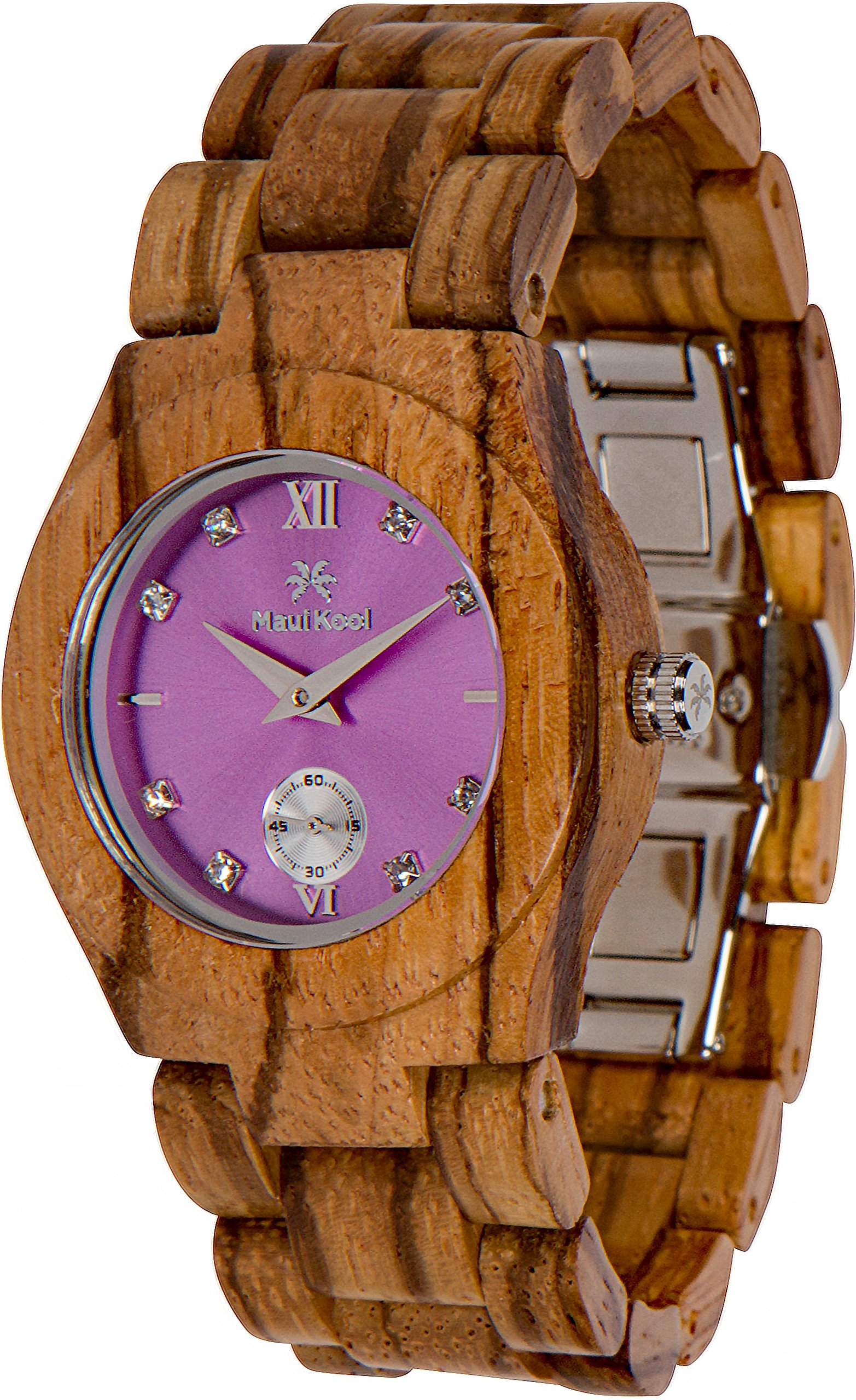 Maui Kool Wooden Watch Hana Collection for Women Analog Wood Watch Bamboo Gift Box (B6 - Zebra Lavender)