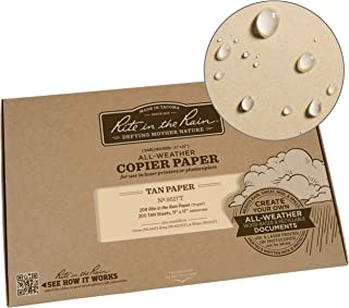 """product image for Rite in the Rain Weatherproof Laser Printer Paper, Tabloid Size Paper 11"""" x 17"""", 20# Tan Colored Printer Paper, 200 Sheet Pack (No. 9517T)"""