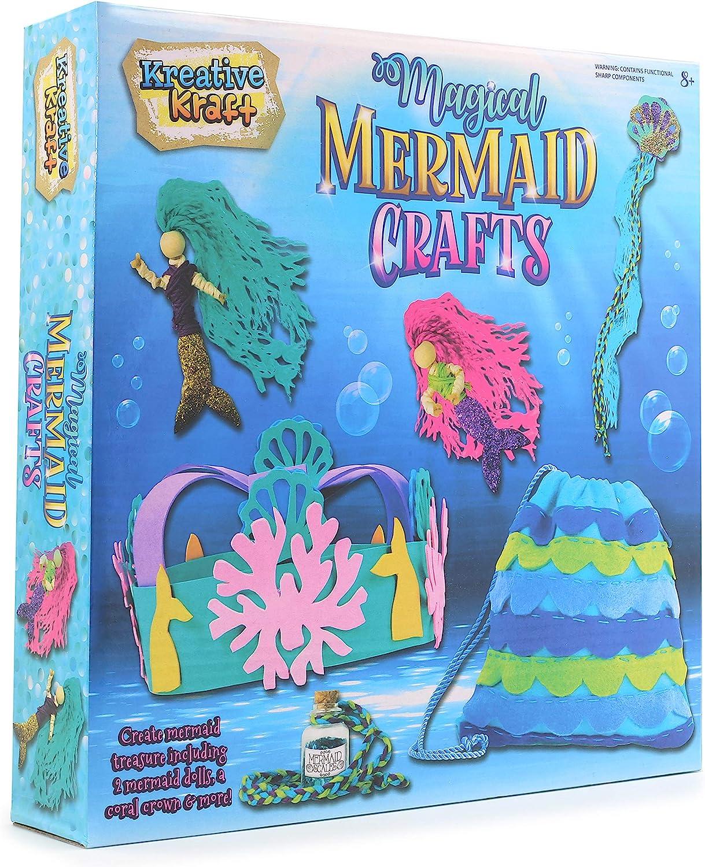 KreativeKraft Kits De Manualidades Sirenas Mágicas | Kits De Fieltro para Manualidades para Niñas para 6 Hermosas Creaciones, Incluyen 2 Muñecas | Kit De Costura Y Set De Actividades