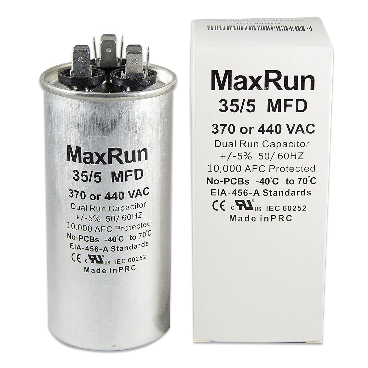 MAXRUN 35+5 MFD uf 370 or 440 Volt VAC Round Motor Dual Run Capacitor for AC Air Conditioner Condenser - 35/5 uf MFD 440V Straight Cool or Heat Pump - Will Run AC Motor and Fan