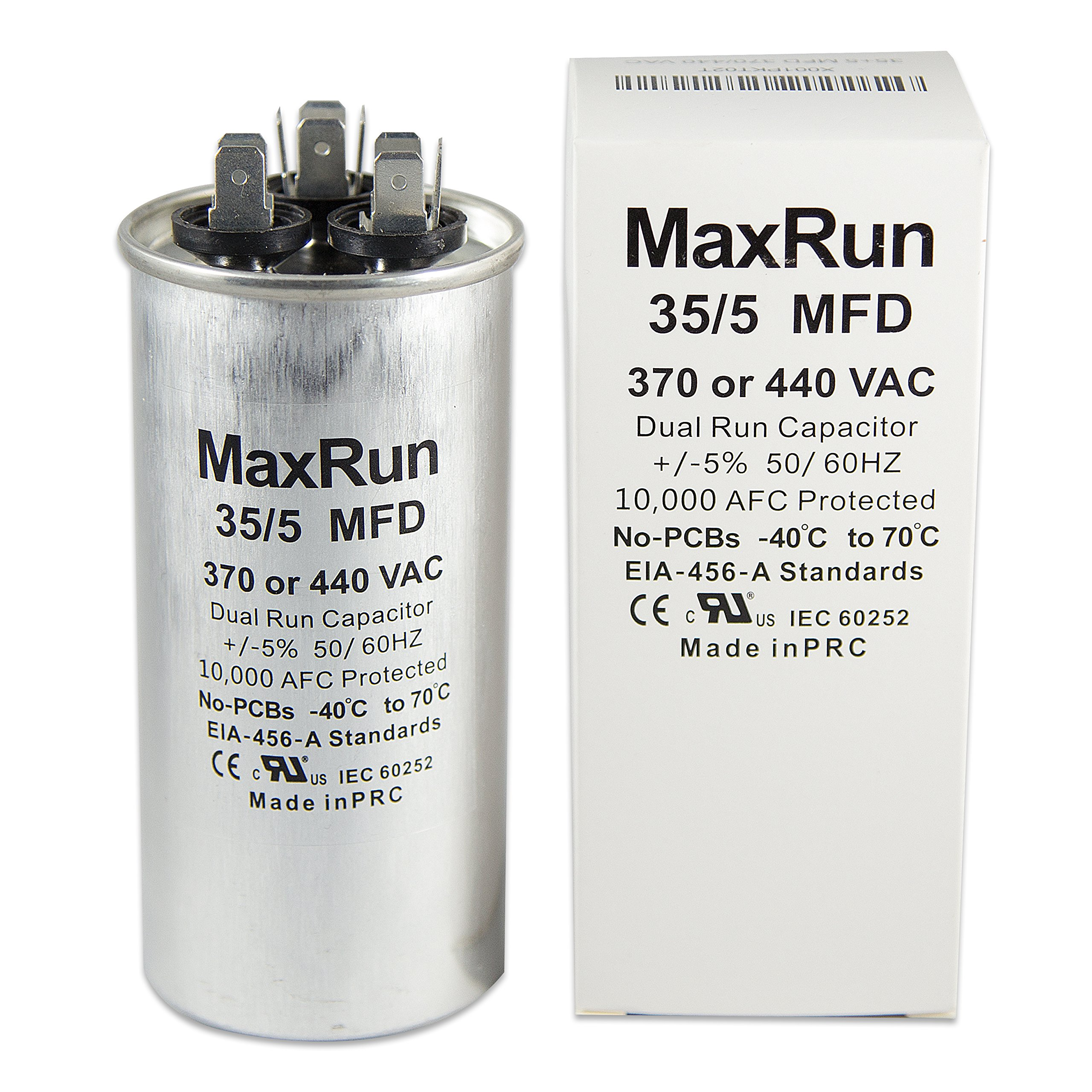 MAXRUN 35+5 MFD uf 370 or 440 Volt VAC Round Motor Dual Run Capacitor for AC Air Conditioner Condenser - 35/5 uf MFD 440V Straight Cool or Heat Pump - Will Run AC Motor and Fan - 1 Year Warranty