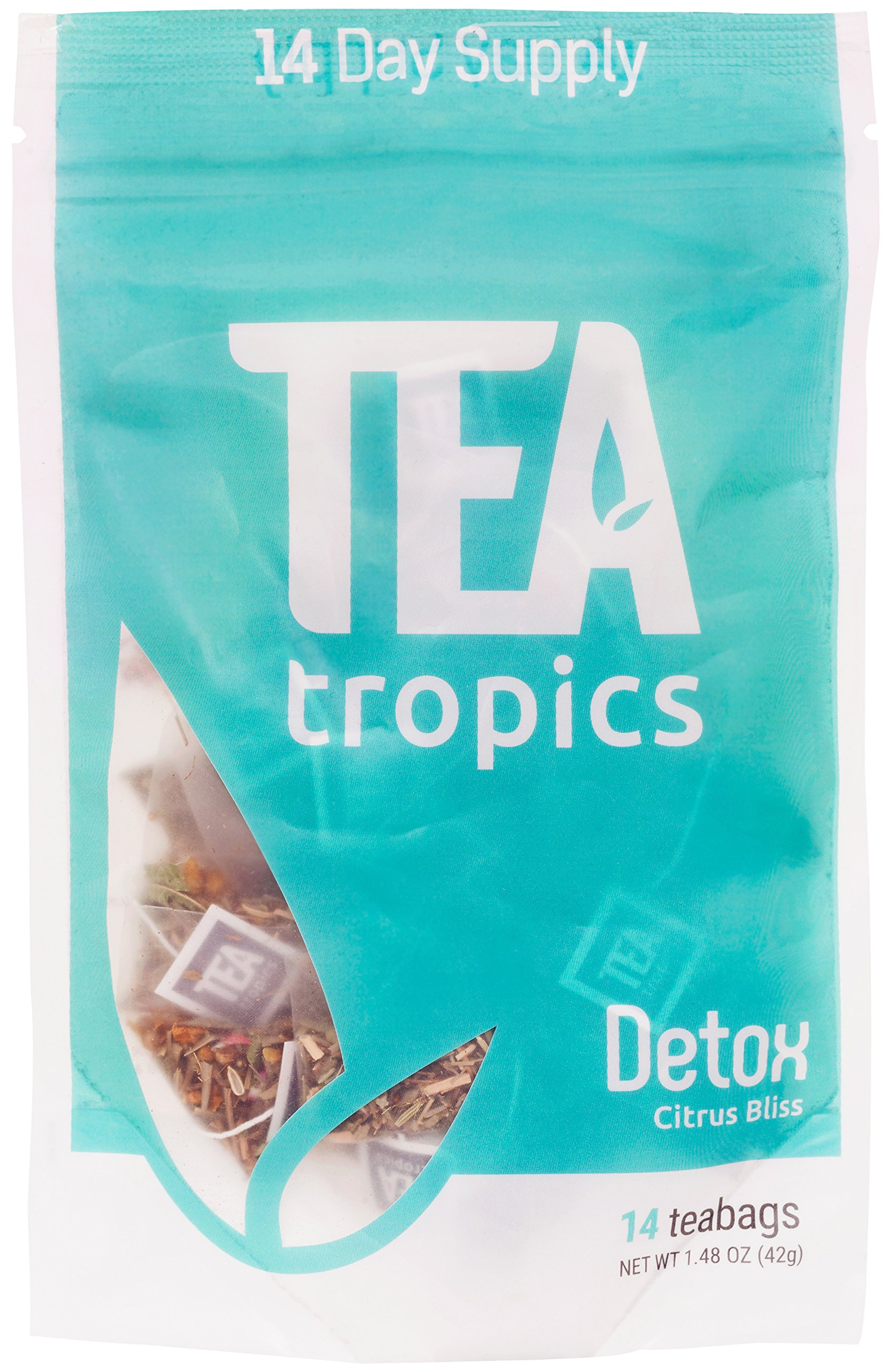 TeaTropics Full Body Detox Tea 14 Day Cleanse – Reduce Bloating, Appetite Suppressant, Natural, Powerful Weight Loss, Pyramid Tea Bags with Great Citrus Taste Caffeine Free Brew Hot or Iced Teatox