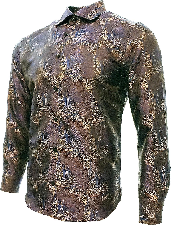 Centenario Mens Casual Shirt Long Sleeve Color Blue//Brown