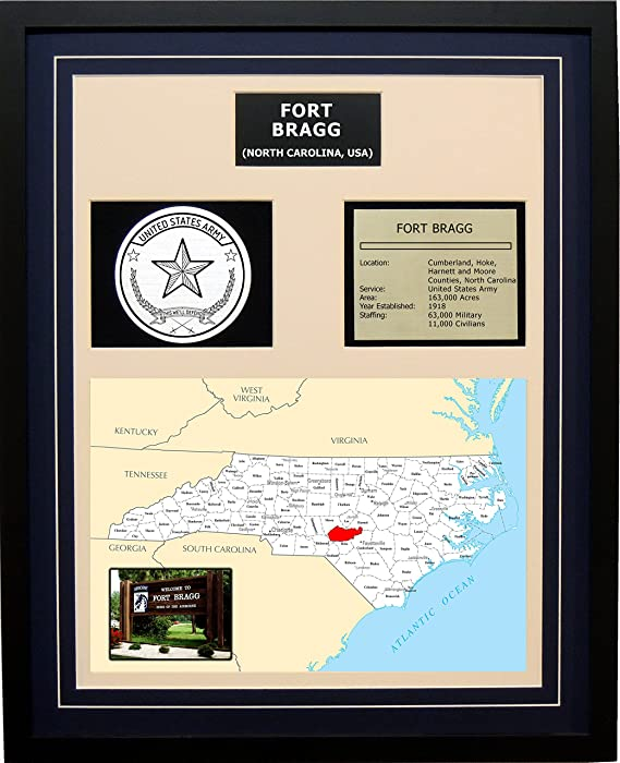 Amazon Fort Bragg Framed Army Base Plaque Blue Posters