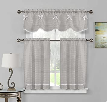 36 inch window curtains kate home maison carlee sheer kitchen window curtain tier valance set 26 36 amazoncom