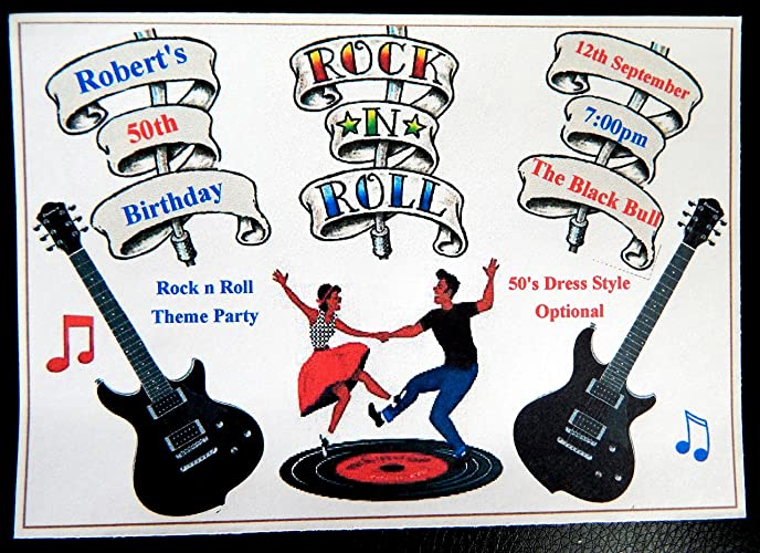 25 50 75 Or 100 X Personalised Rock N Roll Themed Birthday Invitations