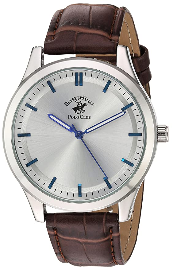 Amazon.com: US Beverly Hills Polo Club Mens Beverly Hills Polo Club Analog-Quartz Watch with Leather-Synthetic Strap, Brown, 20 (Model: 52959: Watches