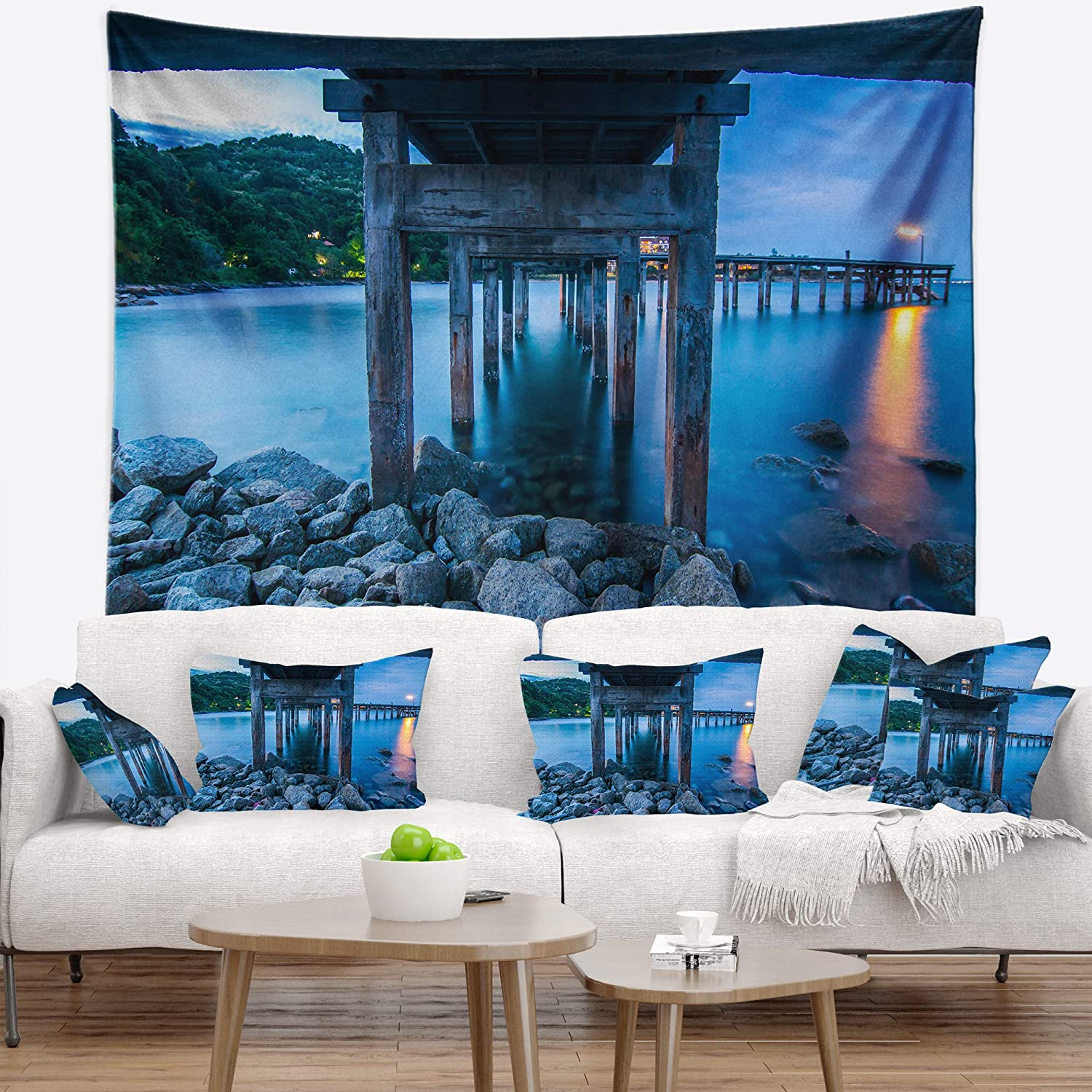 Created On Lightweight Polyester Fabric Designart TAP10558-39-32 Under Wood Twilight Sea Bridge Blanket D/écor Art for Home and Office Wall Tapestry Medium 39 in x 32 in