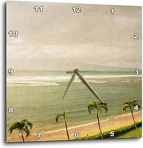 3dRose Vintage Maui Palm Trees and Beach Tropical Photography – Wall Clock, 15 by 15-Inch DPP_30915_3