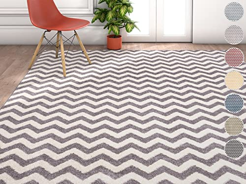 Wandering Chevron Grey Zig Zag Modern Casual Geometric Area Rug 8×10 8×11 7'10″ x 10'6″ Easy Clean Stain Fade Resistant No Shed Contemporary Abstract Funky Fun Shapes Lines Living Dining Room Rug