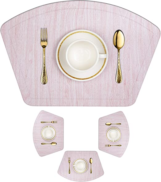 Round Placemats Set of 4 Woven Vinyl Washable Heat Resistant Dining Table Pink