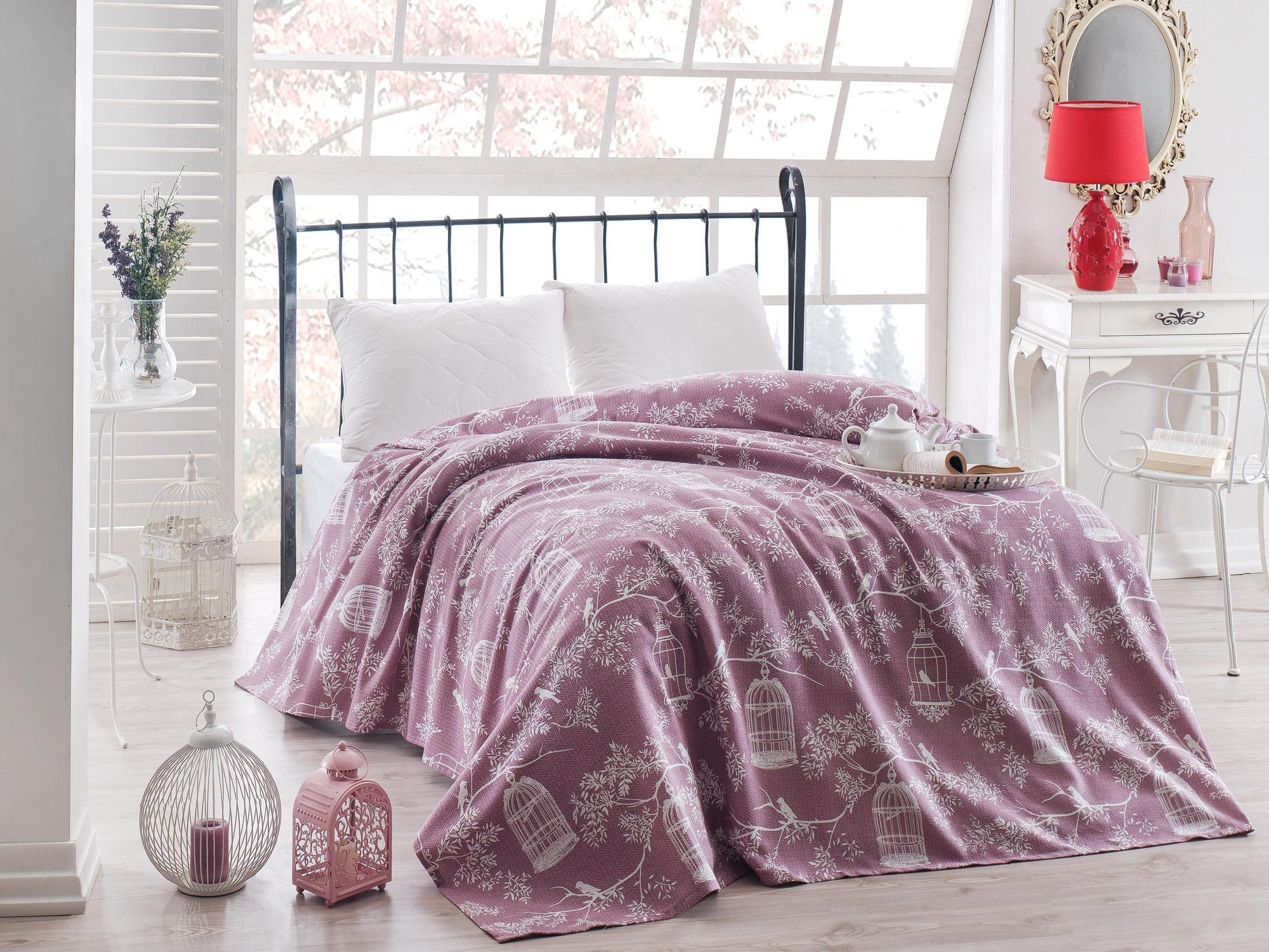 LaModaHome Luxury Soft Colored Twin and Single Bedroom Bedding 100% Cotton Single Coverlet (Pique) Thin Coverlet Summer/Bird Cage Animal Tree Plant Flower Nature Purple Background