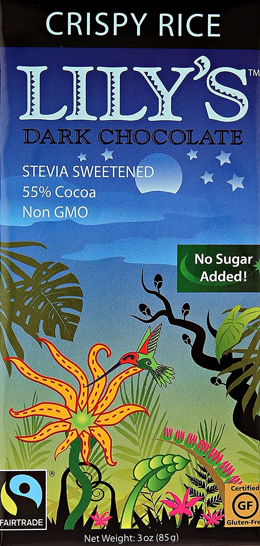 Amazon.com : Lily's Crispy Rice Dark Chocolate (12x3 OZ) : Candy ...