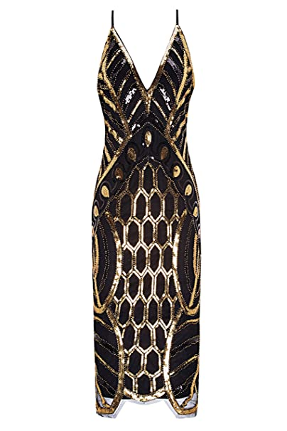 Metme Mujeres Años 20 V cuello Sexy Correas Gatsby vestido de fiesta Vintage lentejuelas para la