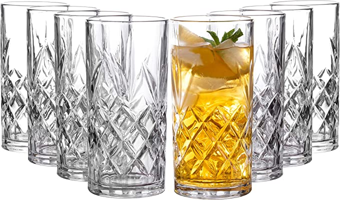 Royalty Art Kinsley Clovelly Tall Highball Glasses Set Of 8 12 Ounce Cups Textured Designer Glassware For Drinking Water Beer Or Soda Trendy And Elegant Dishware Dishwasher Safe Highball Highball Glasses