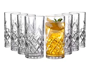 Clovelly Tall Highball Glasses Set of 8, 12 Ounce Cups, Textured Designer Glassware for Drinking Water, Beer, or Soda, Trendy and Elegant Dishware, Dishwasher Safe