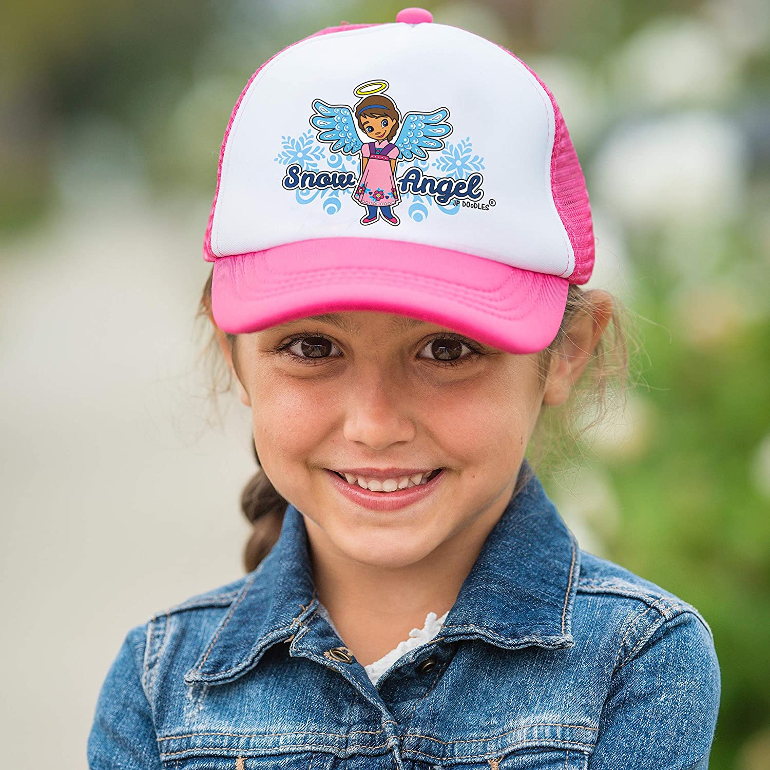 JP DOoDLES Snow Angel on Kids Trucker Hat Toddler The Kids Baseball Cap is Available in Baby and Youth Sizes