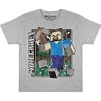 Popgear Minecraft Distressed Steve Boys T-Shirt Heather Grey Camiseta para Niños