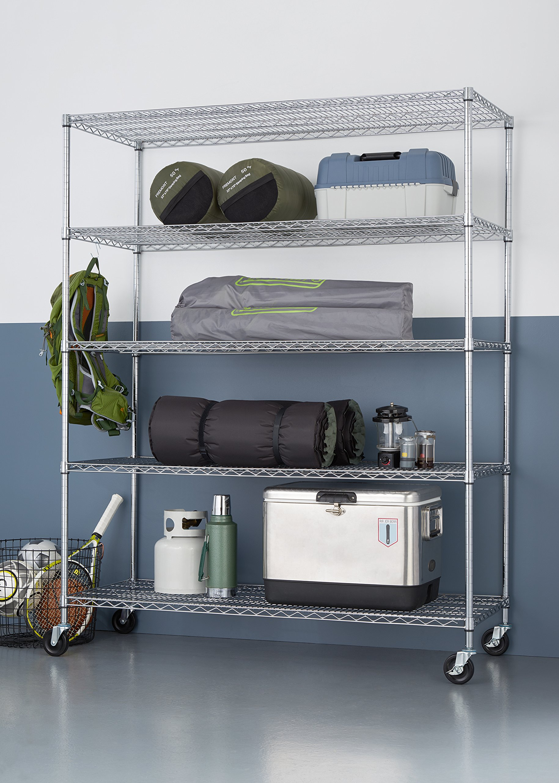 TRINITY 5-Tier NSF Heavy Duty X-Large Wire Shelving Rack with Wheels, 60 by 24 by 72-Inch, Chrome by Trinity (Image #3)
