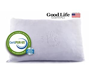 Good Life Essentials Shredded Memory Foam Pillow with Bamboo Cover
