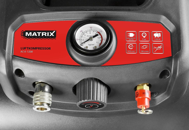 motor 1200/W Matrix 240100155/Kawasaki Compresor 8/bar 180/L//min port/átil tiempo libre y Hobby aire compresor dep/ósito de 6/L para taller