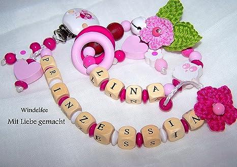 Set de regalo con grabado de nombres, cadena para chupete ...