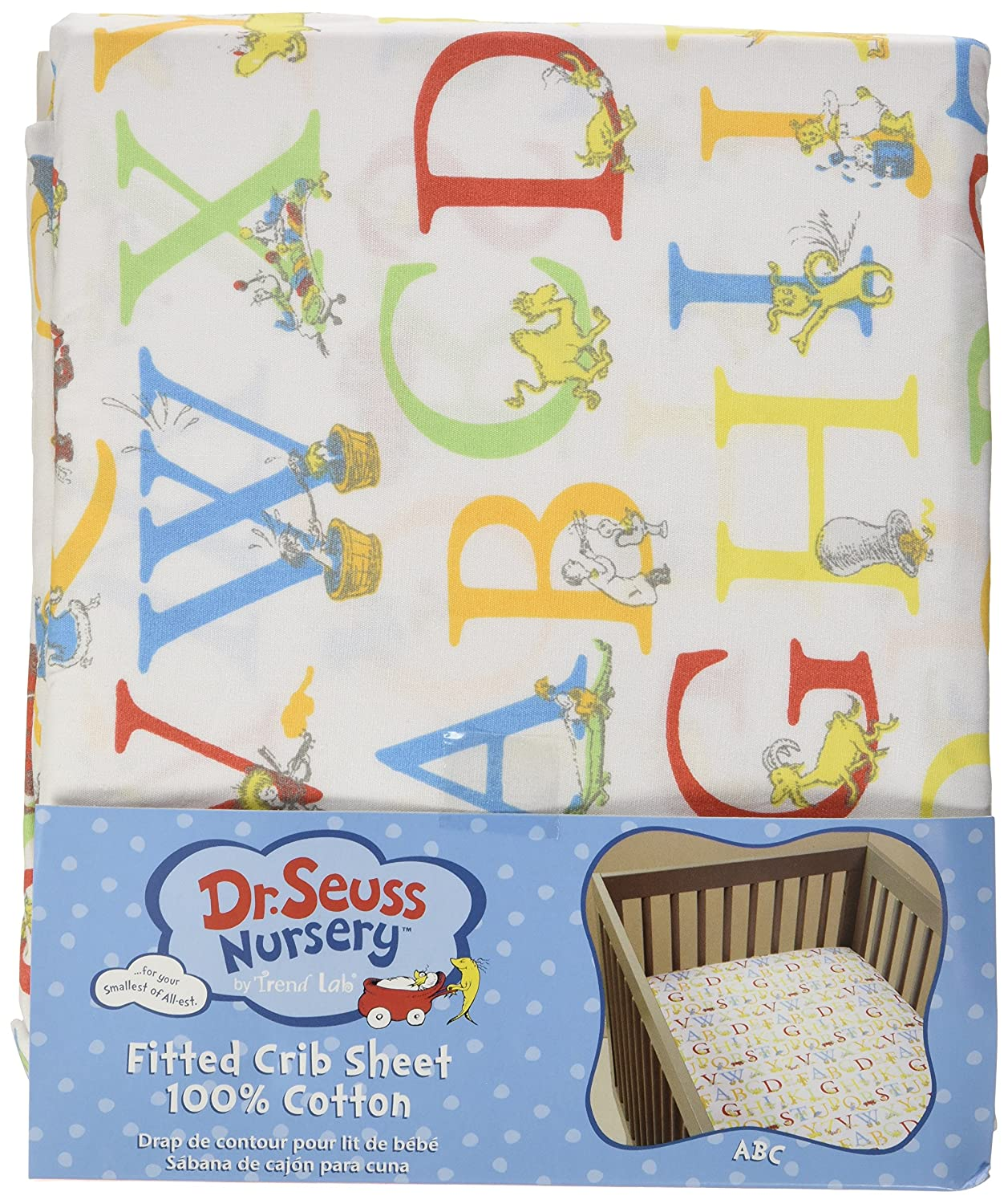 Amazon.com : Trend Lab Dr. Seuss ABC Fitted Crib Sheet, Red/Yellow/Green : Baby