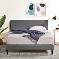 Zinus Nelly Classic Home Queen Bed Frame Fabric Upholstered Platform - Dark Grey