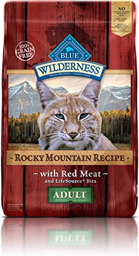 Blue Buffalo Wilderness Rocky Mountain Recipe High Protein Grain Free, Natural Adult Dry Cat Food, Red Meat 10-Lb